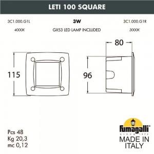 Светильник для подсветки лестниц встраиваемый FUMAGALLI LETI 100 Square 3C1.000.000.AYG1L