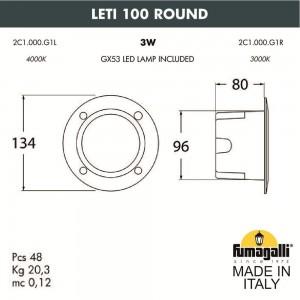 Светильник для подсветки лестниц встраиваемый FUMAGALLI LETI 100 Round 2C1.000.000.AYG1L