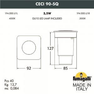 Грунтовый светильник FUMAGALLI CECI 90-SQ 1F4.000.000.AXU1L