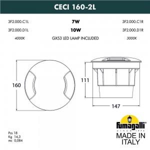 Грунтовый светильник FUMAGALLI CECI 160-2L 3F2.000.000.AXD1L