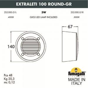 Светильник для подсветки лестниц накладной FUMAGALLI EXTRALETI 100 Round-GR 2S2.000.000.AYG1L