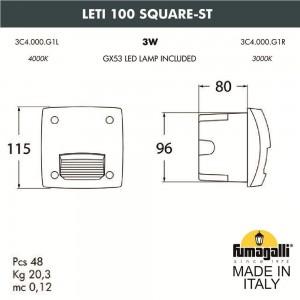 Светильник для подсветки лестниц встраиваемый FUMAGALLI LETI 100 Square-ST 3C4.000.000.WYG1L