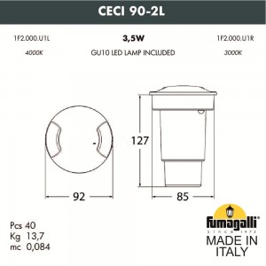 Грунтовый светильник FUMAGALLI CECI 90-2L 1F2.000.000.AXU1L