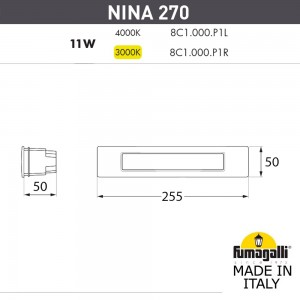 Светильник для подсветки лестниц встраиваемый FUMAGALLI NINA 270 8C1.000.000.LYP1L