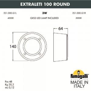 Светильник для подсветки лестниц накладной FUMAGALLI EXTRALETI 100 Round 2S1.000.000.WYG1L