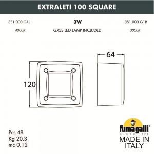 Светильник для подсветки лестниц накладной FUMAGALLI EXTRALETI 100 Square 3S1.000.000.LYG1L
